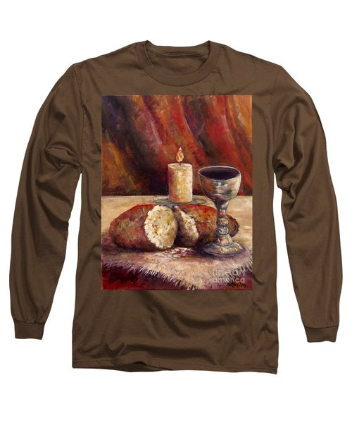 Bread And Wine Long Sleeve T-Shirt by Lou Ann Bagnall