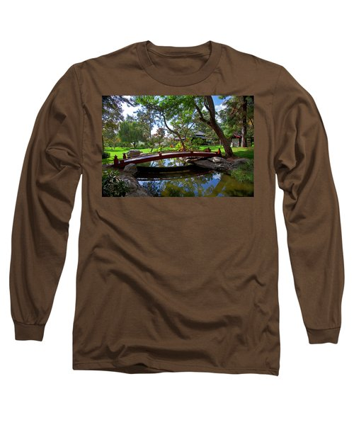 Long Sleeve T-Shirt featuring the photograph Bridge Over Japanese Gardens Tea House by Jerry Cowart