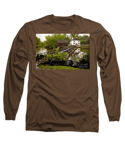 Long Sleeve T-Shirt featuring the photograph Bridge To Philipsburg Manor Mill House by Jerry Cowart