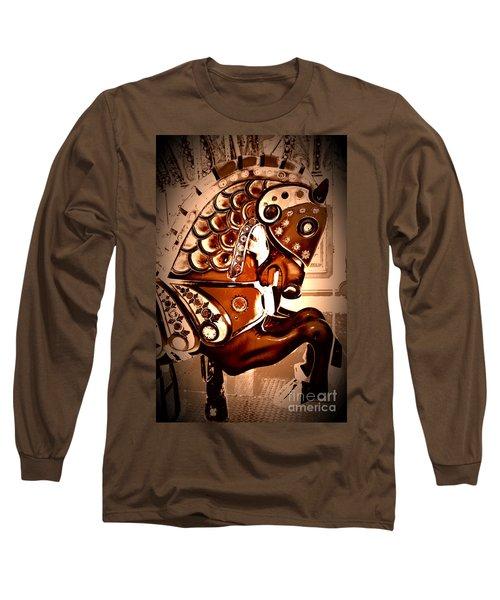 Brown Carousel Horse Long Sleeve T-Shirt