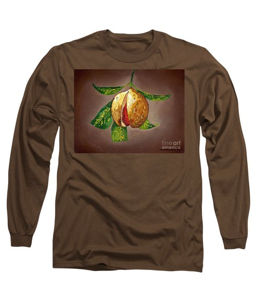 Brown Glow Nutmeg Long Sleeve T-Shirt by Laura Forde