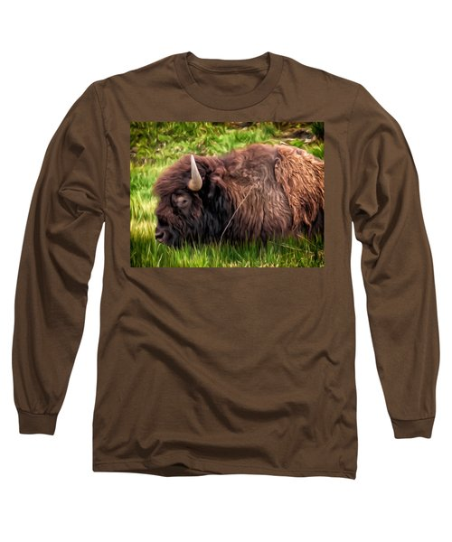 Long Sleeve T-Shirt featuring the painting Buffalo Cat Nap by Michael Pickett