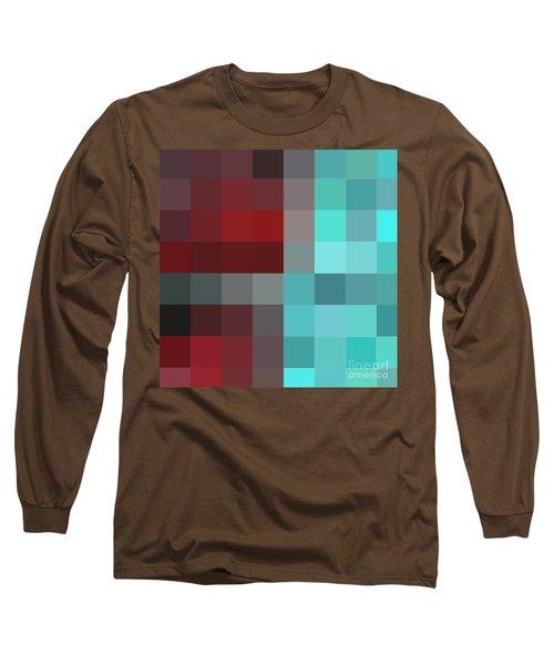 Burgundy Tartan II Abstract Pixel Art Digital Mixed Media Painting By Megan Duncanson Long Sleeve T-Shirt