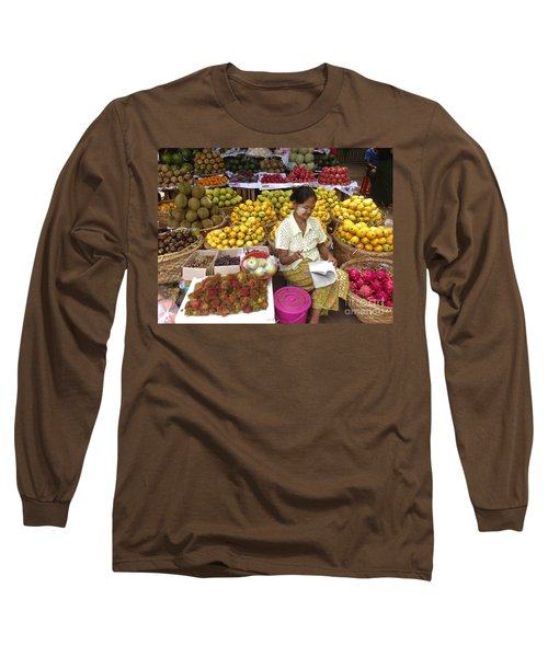 Burmese Lady Selling Colourful Fresh Fruit Zay Cho Street Market 27th Street Mandalay Burma Long Sleeve T-Shirt