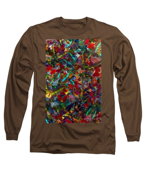 Long Sleeve T-Shirt featuring the photograph Butterfly Collage Red by Robert Meanor