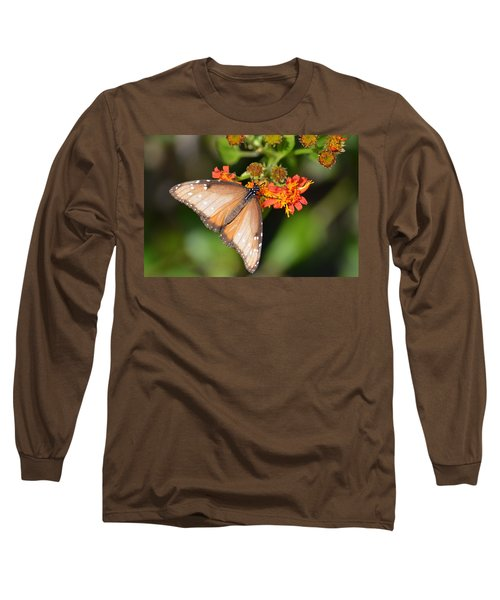 Butterfly On Mexican Flame Long Sleeve T-Shirt by Debra Martz