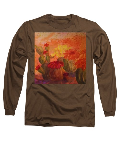 Cactus Garden - Square Format Long Sleeve T-Shirt by Ellen Levinson
