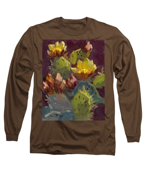 Cactus In Bloom 1 Long Sleeve T-Shirt by Diane McClary