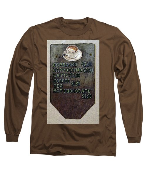 Cafe Sign On Slate Long Sleeve T-Shirt by Joyce  Wasser
