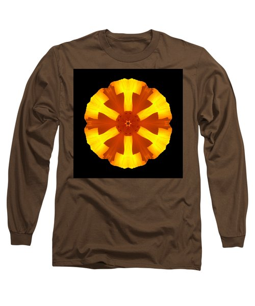 California Poppy Flower Mandala Long Sleeve T-Shirt