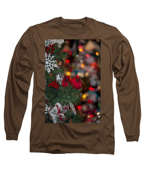 Long Sleeve T-Shirt featuring the photograph Cardinals At Christmas by Patricia Babbitt