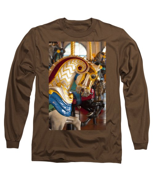 Colorful Carousel Merry-go-round Horse Long Sleeve T-Shirt by Jerry Cowart
