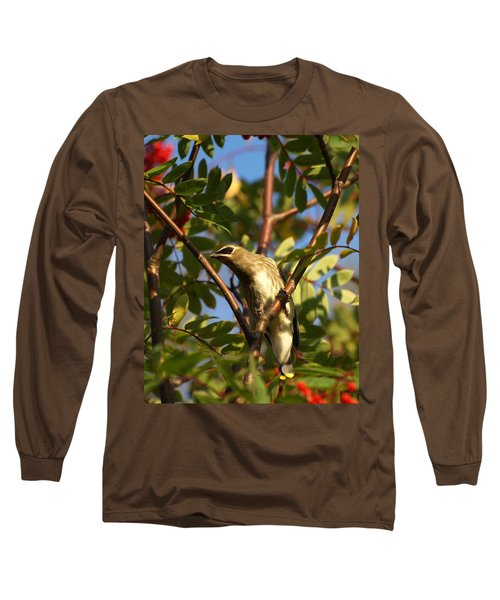 Long Sleeve T-Shirt featuring the photograph Cedar Waxwing by James Peterson