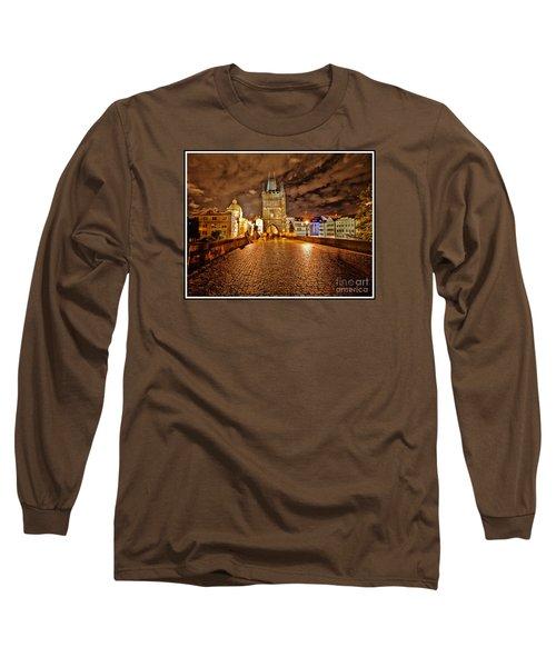 Charles Bridge At Night Long Sleeve T-Shirt by Madeline Ellis