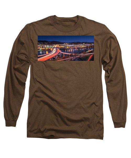 Charleston Wv At Night Long Sleeve T-Shirt by Mary Almond