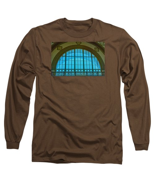 Long Sleeve T-Shirt featuring the photograph Chattanooga Train Depot Stained Glass Window by Susan  McMenamin