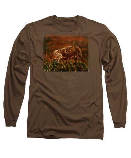 Cheetah Family After The Rains Long Sleeve T-Shirt by Sean Connolly