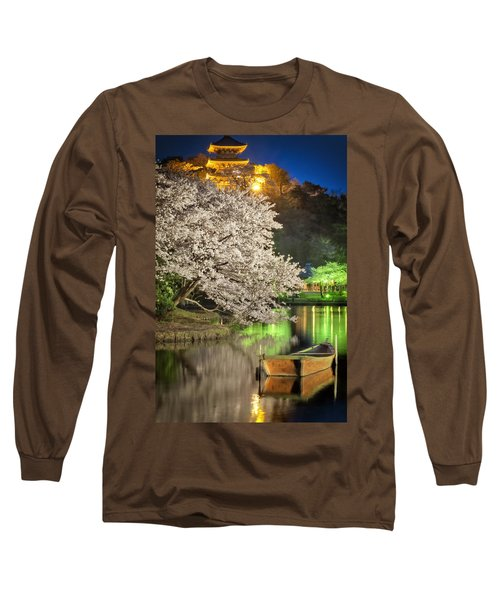 Cherry Blossom Temple Boat Long Sleeve T-Shirt by John Swartz