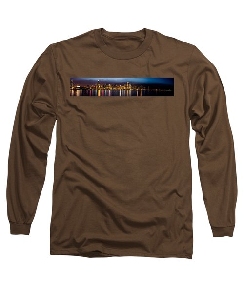 Chicago Skyline At Night Panoramic Long Sleeve T-Shirt