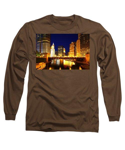 Chicago Skyline Night River Long Sleeve T-Shirt