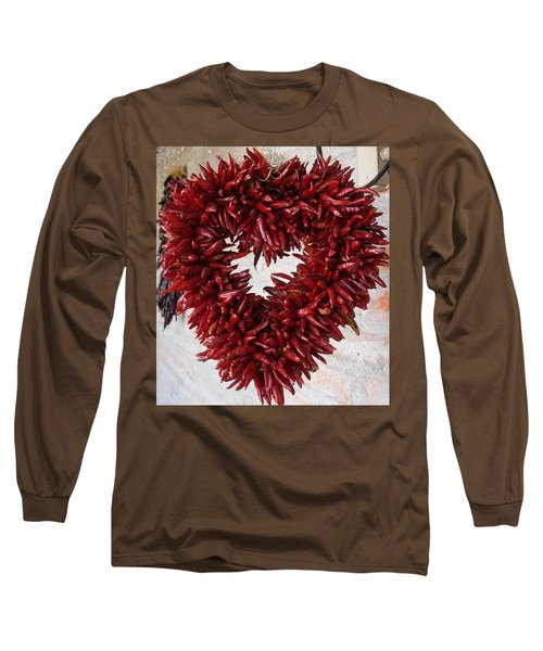 Long Sleeve T-Shirt featuring the photograph Chili Pepper Heart by Kerri Mortenson