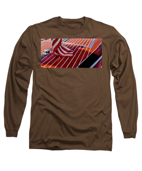 Chris Craft With American Flag Long Sleeve T-Shirt