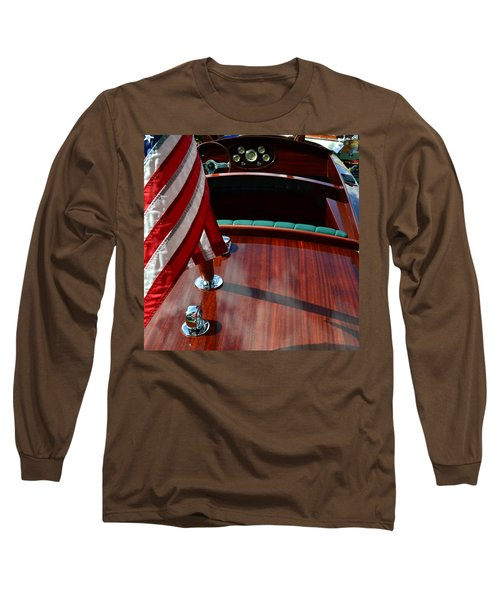Chris Craft With Flag And Steering Wheel Long Sleeve T-Shirt by Michelle Calkins