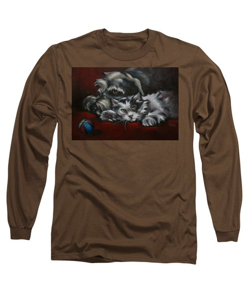 Long Sleeve T-Shirt featuring the painting Christmas Companions by Cynthia House