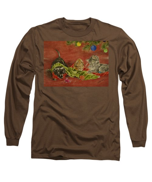 Long Sleeve T-Shirt featuring the drawing Christmas Friends by Melita Safran