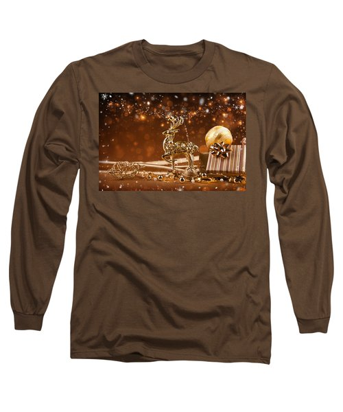 Christmas Reindeer In Gold Long Sleeve T-Shirt by Doc Braham