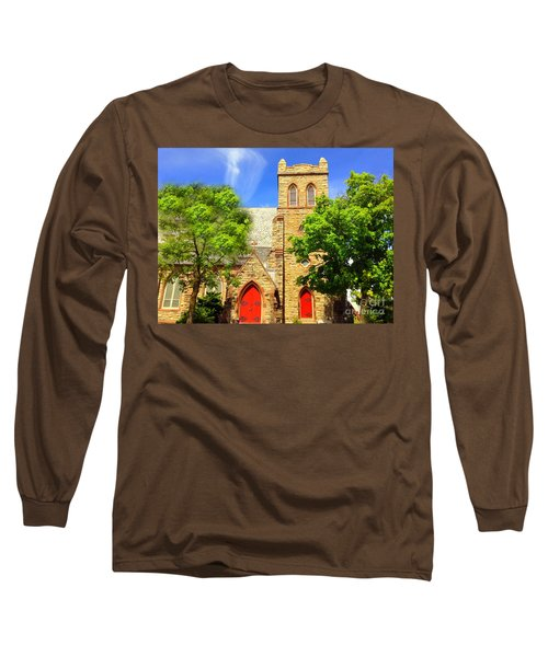 Long Sleeve T-Shirt featuring the photograph Church And Red Doors by Becky Lupe