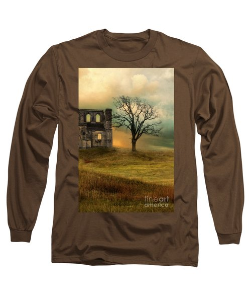 Church Ruin With Stormy Skies Long Sleeve T-Shirt