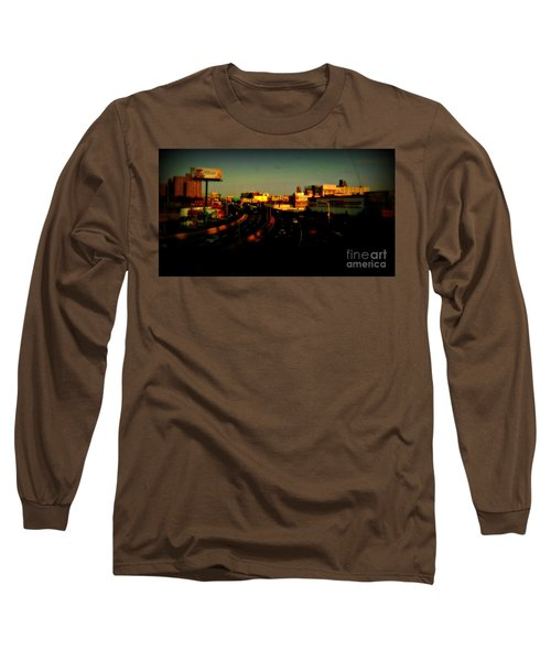 Long Sleeve T-Shirt featuring the photograph City Of Gold - New York City Sunset With Water Towers by Miriam Danar