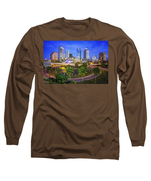 City Of Tampa At Dawn In Hdr Long Sleeve T-Shirt by Michael White