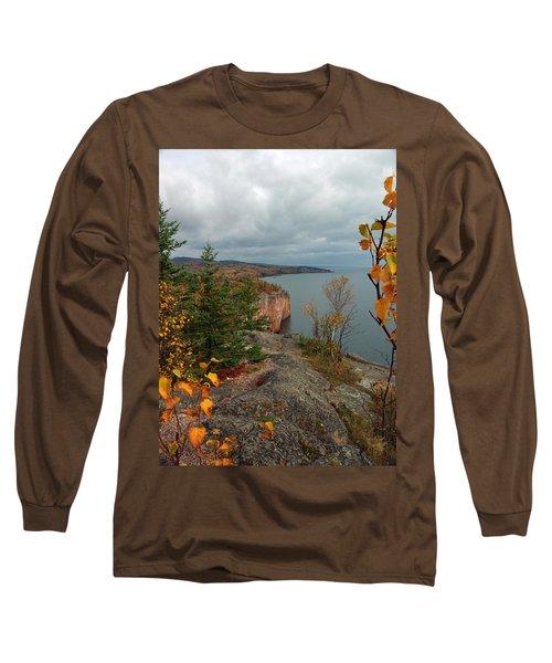 Long Sleeve T-Shirt featuring the photograph Cliffside Fall Splendor by James Peterson