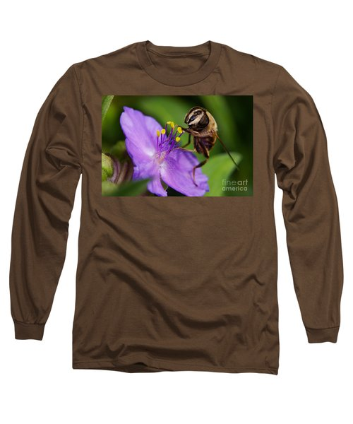 Closeup Of A Bee On A Purple Flower Long Sleeve T-Shirt