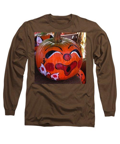 Clown Pumpkin Long Sleeve T-Shirt by Denyse Duhaime