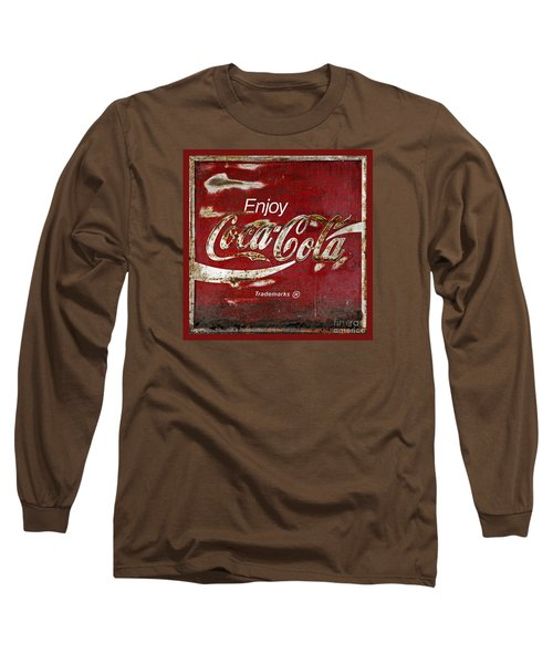 Coca Cola Red Grunge Sign Long Sleeve T-Shirt by John Stephens