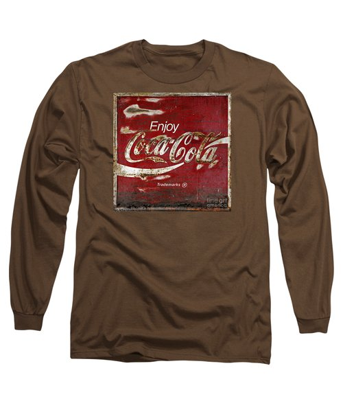Coca Cola Wood Grunge Sign Long Sleeve T-Shirt by John Stephens