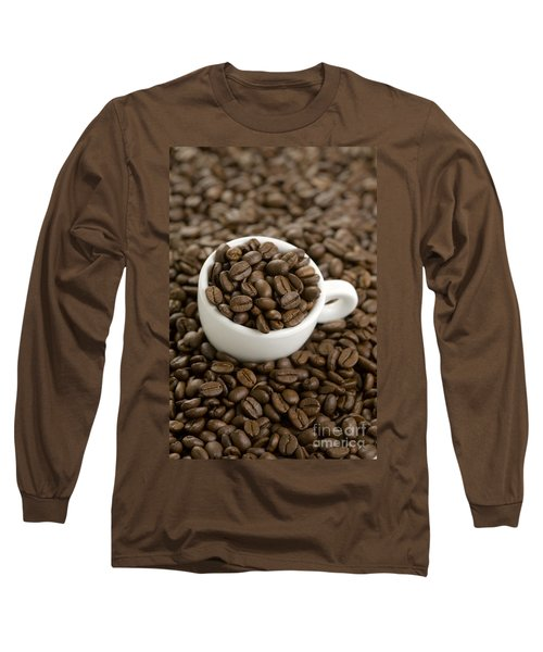 Long Sleeve T-Shirt featuring the photograph Coffe Beans And Coffee Cup by Lee Avison