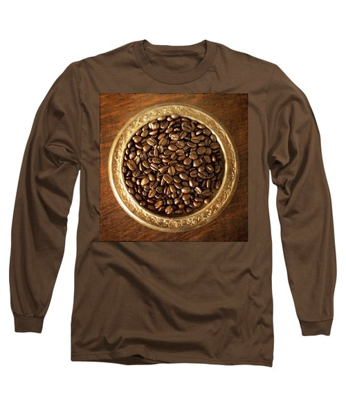 Coffee Beans On Antique Silver Platter Long Sleeve T-Shirt