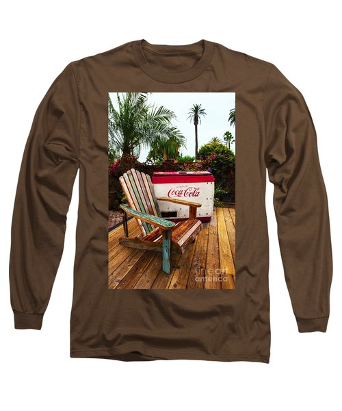 Vintage Coke Machine With Adirondack Chair Long Sleeve T-Shirt by Jerry Cowart