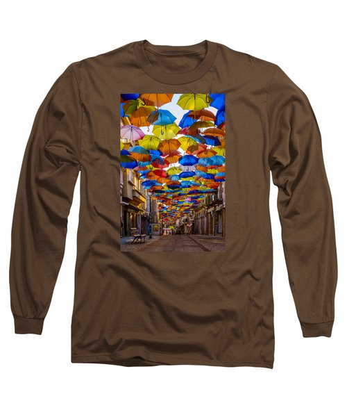 Colorful Floating Umbrellas Long Sleeve T-Shirt by Marco Oliveira