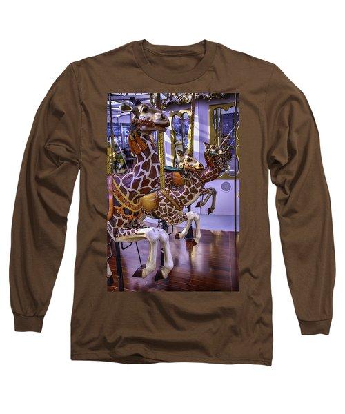 Colorful Giraffes Carrousel Long Sleeve T-Shirt