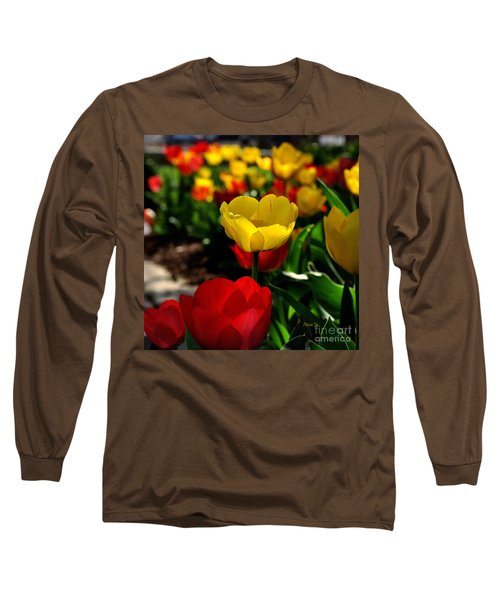 Colorful Spring Tulips Long Sleeve T-Shirt by Nava Thompson