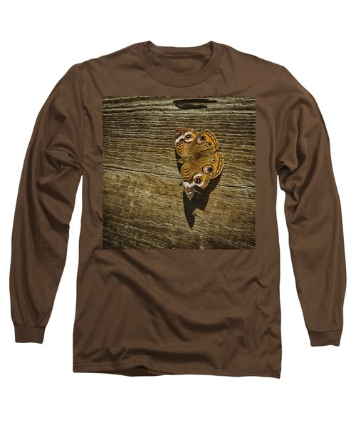 Common Buckeye With Torn Wing Long Sleeve T-Shirt by Lynn Palmer