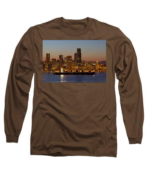 Long Sleeve T-Shirt featuring the photograph Container Ship On Puget Sound Along Seattle Skyline by JPLDesigns