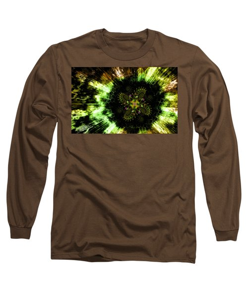Long Sleeve T-Shirt featuring the digital art Cosmic Solar Flower Fern Flare by Shawn Dall
