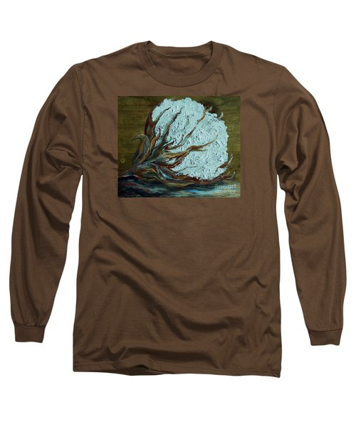Cotton Boll On Wood Long Sleeve T-Shirt