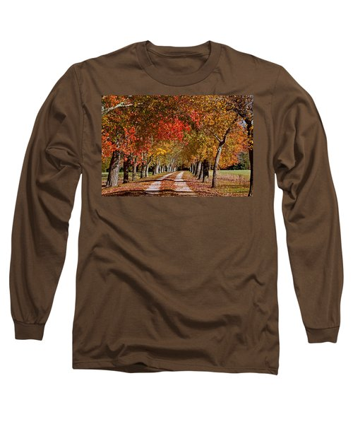 Long Sleeve T-Shirt featuring the photograph Country Lane In Autumn by Jerry Gammon